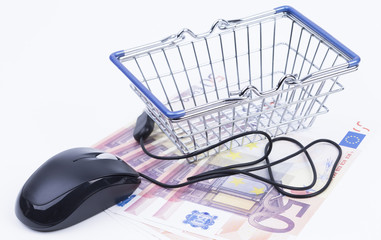 Shopping basket with money and mouse