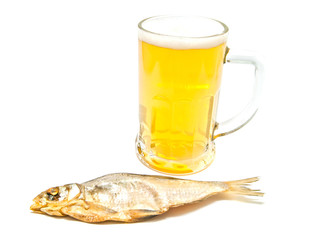 salted fish and glass of beer closeup