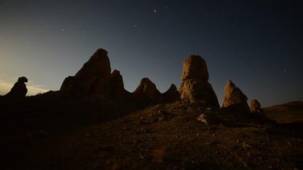 Time Lapse of Moon Rise at Tronas Pinnacles California Desert