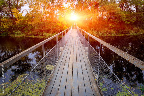 canvas print picture Small bridge over river in forest
