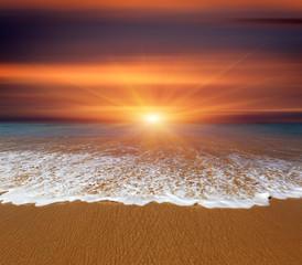 sunset over sea beach