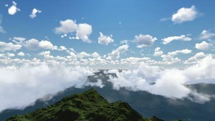 Dağların üzerindeki bulutlar