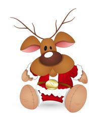 Funny Reindeer Santa Sitting