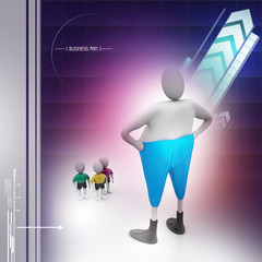 3d people with comic and fat man