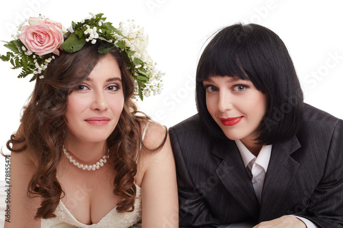 Foto op Plexiglas Akt Smiling newlyweds. Concept of gay marriage