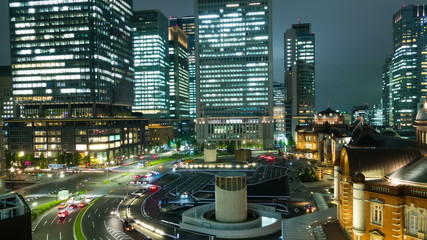 night scenery, tokyo station, tall buildings