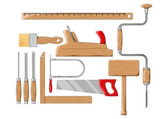 Carpenter tools. Color silhouette vector illustration.