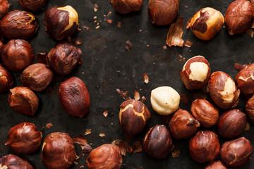 hazelnuts on the black board