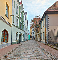 Medieval street in old Riga city, Latvia, Europe