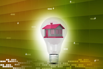 House in to the light bulb, ecology concept