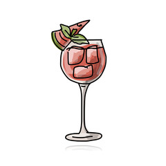 Cocktail with watermelon, sketch for your design
