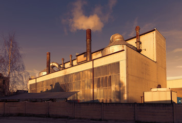 Industrial building and blue sky,sunset