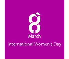 Creative design piece for women`s day on purple background