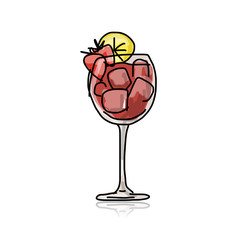 Cocktail with strawberry, sketch for your design