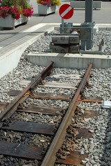 Buffer stop at the end of railway tracks