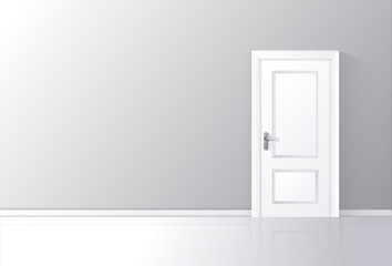 White door closed on a gray wall with reflective floor