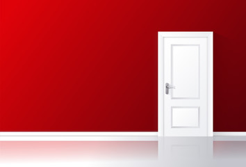 White door closed on a red wall with reflective floor.