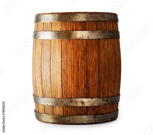 Wooden oak barrel isolated on white background - 78858226