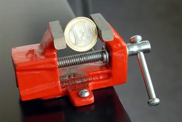 Euro, Schraubstock, Symbol, Deflation, Minuszinsen, Geld