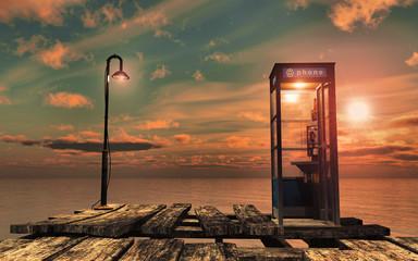 lever de soleil sur le vieux pont telephone