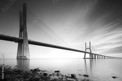 Foto op Plexiglas Brug Vasco de Gama bridge B&W