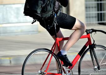 Very red bike, close-up