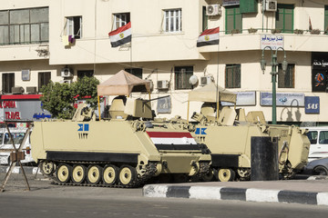 Armoured vehicles in Tahrir Square, Cairo (Egypt)
