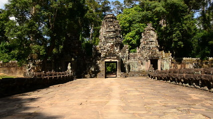 Zoom Out of Entrance to Abandon Temple  - Angkor Wat Temple Cambodia