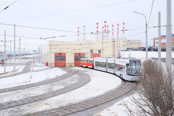 RUSSIA, MOSCOW - FEBRUARY 20, 2015: tramway depot in winter