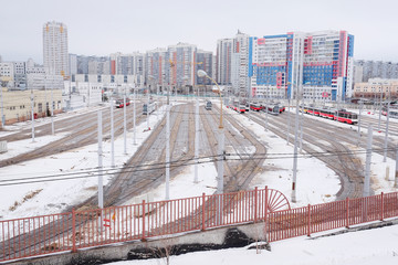MOSCOW : tramway depot in winter