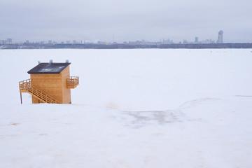 Winter, wooden kiosk