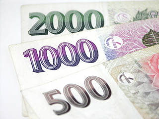 Czech money on white background