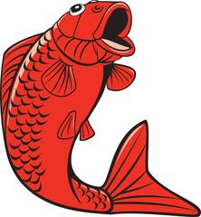 Koi Nishikigoi Carp Fish Jumping Cartoon