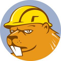Beaver Construction Worker Circle Cartoon