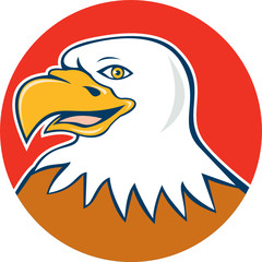American Bald Eagle Head Smiling Circle Cartoon