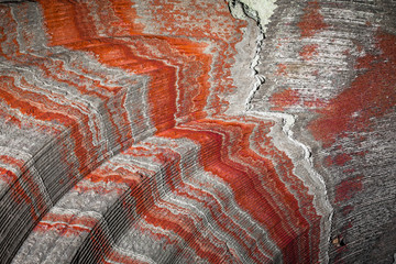 multicolor fragment of wall in potassium salt mine with stripes