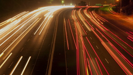 Time Lapse of Busy Los Angeles Freeway at Night
