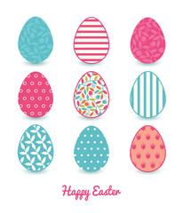 Vector colorful branches set of nine colorful Easter eggs card