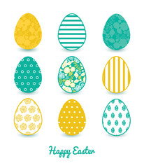 Vector emerald flowerals set of nine colorful Easter eggs card