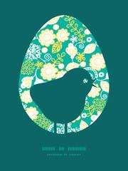 Vector emerald flowerals chicken silhouette Easter frame