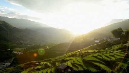 Time Lapse - Sun Rays Passing over  Valley of Rice Farm Terraces Sapa Vietnam