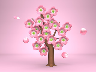 Pink Cherry Blossoms On Pink Background