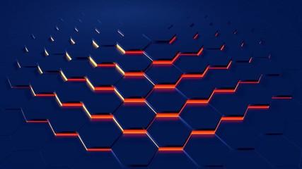 Hex Floor Metal blue red