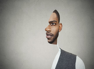 surrealistic portrait front with cut out profile of a young man