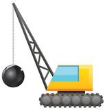 Crane with wrecking ball image - 78863236