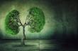 Leinwanddruck Bild - green tree shaped like human lungs growing from concrete floor