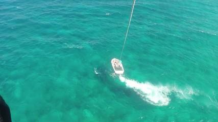 Aerial view parasailing over ocean Montego Bay, Jamaica