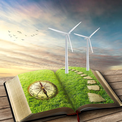 Wind Generators, Ecology. Future of energy industry concept