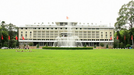 Zoom Out - Front Entrance - Independence Palace - Ho Chi Minh City Vietnam