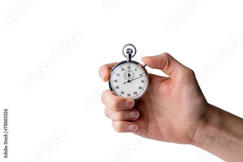 Leinwandbild Motiv timer hold in hand, button pressed